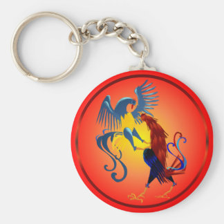 Two Colorful Fighting Roosters Keychains