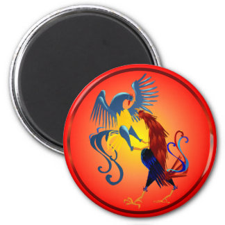 Two Colorful Fighting Roosters Magnets