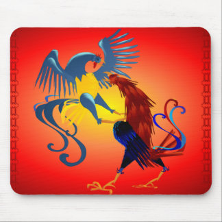 Two Colorful Fighting Roosters_Mousepad Mouse Pad