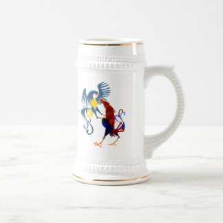 Two Colorful Fighting Roosters Mugs