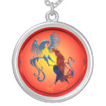 Two Colorful Fighting Roosters Necklace