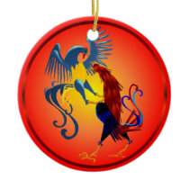 Two Colorful Fighting Roosters Ornament
