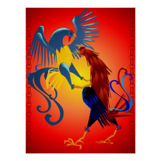 Two Colorful Fighting Roosters Posters