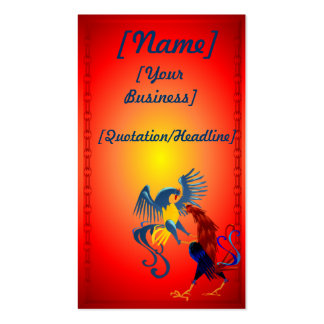 Two Colorful Fighting Roosters profilecard_busi... Business Card Templates