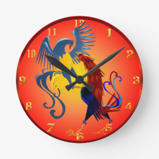 Two Colorful Fighting Roosters Wallclock
