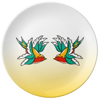 Two Colorful Flying Swallows Tattoo Inspired Porcelain Plate