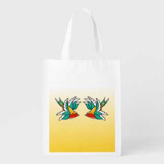 Two Colorful Flying Swallows Tattoo Inspired Reusable Grocery Bag