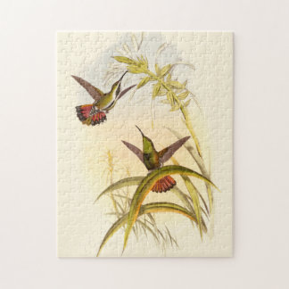 Two Colorful Hummingbirds Aiming for Same Flower Jigsaw Puzzle