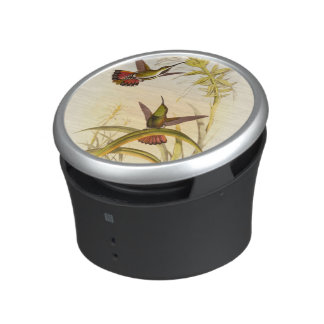 Two Colorful Hummingbirds Aiming for Same Flower Bluetooth Speaker