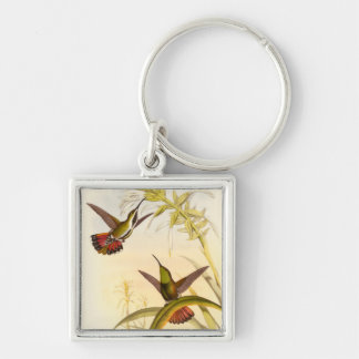 Two Colorful Hummingbirds Aiming for Same Flower Silver-Colored Square Keychain