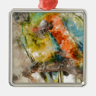 Two Colorful Macaws Metal Ornament