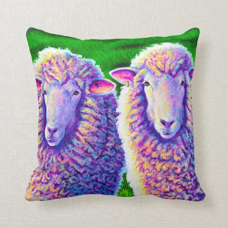Two Colorful Rainbow Sheep Throw Pillow