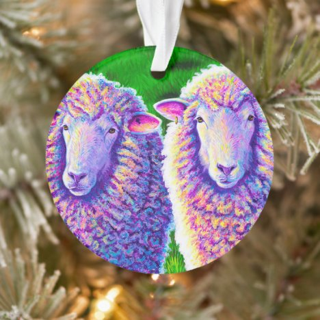 Two Colorful Sheep Acrylic Ornament