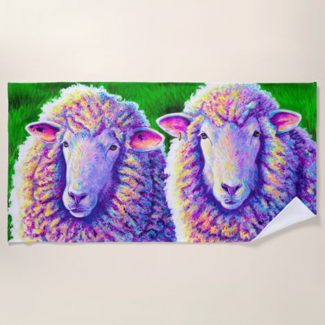 Two Colorful Sheep Beach Towel
