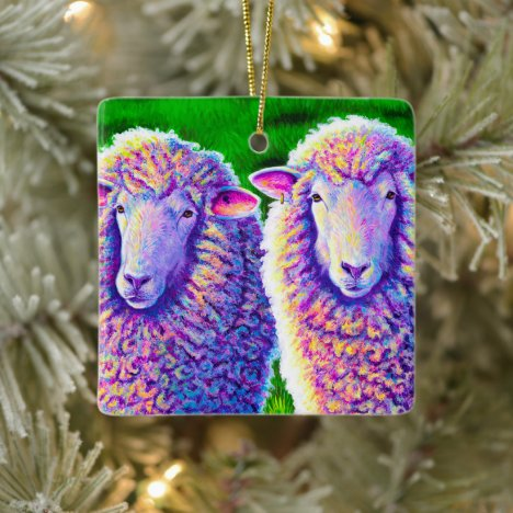 Two Colorful Sheep Ceramic Ornament