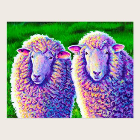 Two Colorful Sheep Painting Postcard