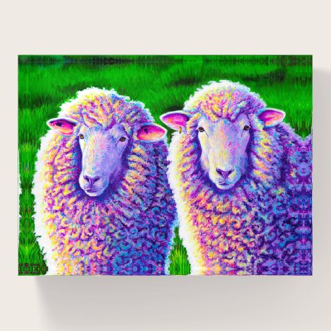 Two Colorful Sheep Paperweight