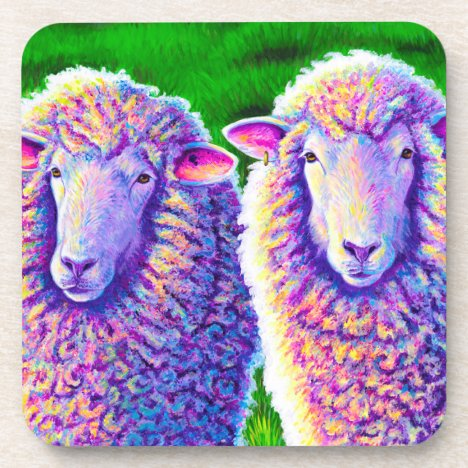 Two Colorful Sheep Plastic Coasters