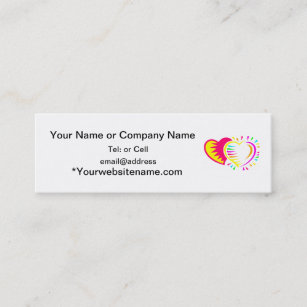 Two hearts together business cards templates zazzle two colorfull hearts together one on another mini business card colourmoves