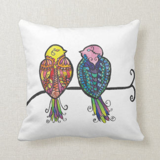 Two Colourful Birds Throw Pillow