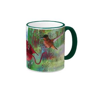 Two Colourful Hovering Hummingbirds at Feeder Ringer Mug