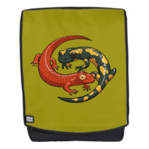 Two Colourful Smiling Salamanders Entwined Cartoon Backpack