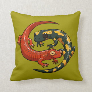 Two Colourful Smiling Salamanders Entwined Cartoon Throw Pillow