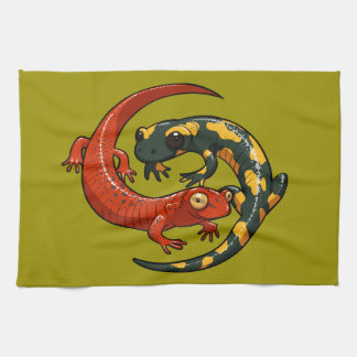 Two Colourful Smiling Salamanders Entwined Cartoon Towels