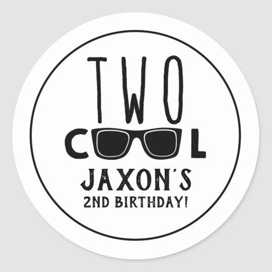 TWO Cool 2nd Birthday Sticker for Boy | Zazzle.com
