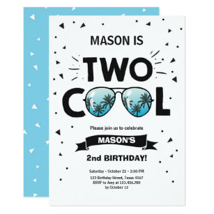 Two Cool Birthday Invitation Boy 2nd Blue