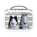 Two Cool Cats Sculptures on Stripes Yubo Lunchboxes