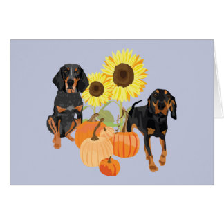 Two coonhounds in autumn card