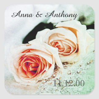 two coral roses wedding anniversary square sticker
