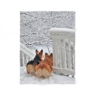 Two Corgis in the Snow Fleece Blanket