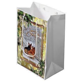 Two Corgis in the Snow with Frame Medium Gift Bag
