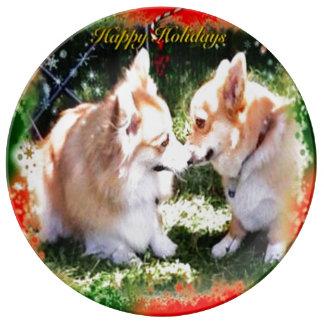 Two Corgis meet holiday Porcelain Plate