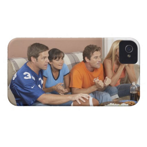 Two couples watching football in living room iPhone 4 Case-Mate cases