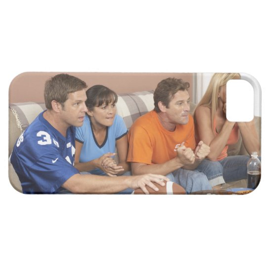 Two couples watching football in living room iPhone SE/5/5s case