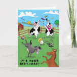 Two Cows and a Chicken Birthday Celebration Card