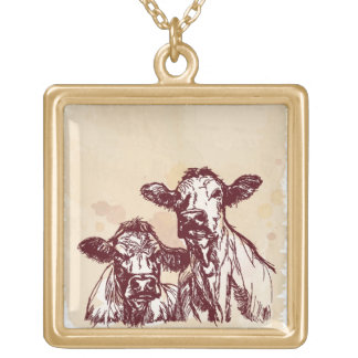 Two cows hand draw sketch & watercolor vintage gold plated necklace
