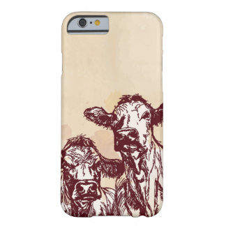 Two cows hand draw sketch & watercolor vintage iPhone 6 case