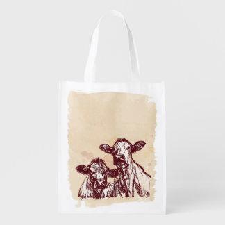 Two cows hand draw sketch & watercolor vintage market totes