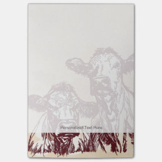 Two cows hand draw sketch & watercolor vintage post-it notes