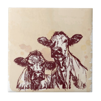 Two cows hand draw sketch & watercolor vintage tile