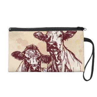 Two cows hand draw sketch & watercolor vintage wristlet purse