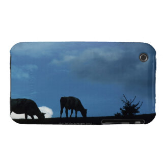 Two cows in silhouette grazing on hillside iPhone 3 Case-Mate case