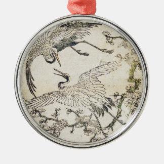 Two cranes and plum branch Katsukawa SHunsho Metal Ornament