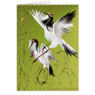 Two Cranes In Bamboo Cards
