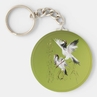 Two Cranes In Bamboo-Keychains Keychain