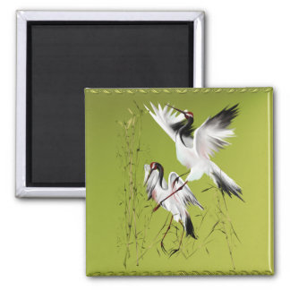 Two Cranes In Bamboo_Magnets 2 Inch Square Magnet
